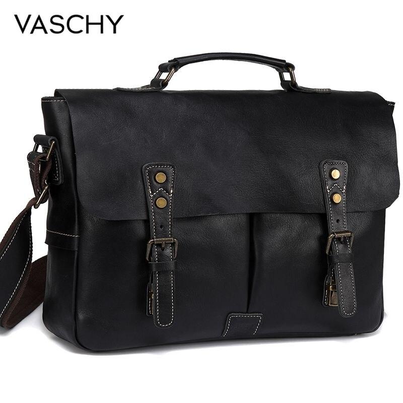 VASCHY Full Cowhide Leather Briefcase For Men Handmade Leather Messenger Bag Vintage Satchel 15.6 Laptop Business Shoulder Bag