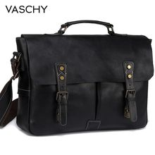купить VASCHY Full Cowhide Leather Briefcase for Men Handmade Leather Messenger Bag Vintage Satchel 15.6 Laptop Business Shoulder Bag по цене 8703.17 рублей