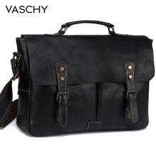 VASCHY tam inek derisi deri evrak çantası erkekler için el yapımı deri askılı çanta Vintage Satchel 15.6 dizüstü iş omuzdan askili çanta