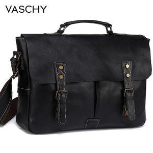 Image 1 - Мужской портфель из воловьей кожи VASCHY, винтажная деловая сумка мессенджер ручной работы для ноутбука 15,6 дюйма, 2019