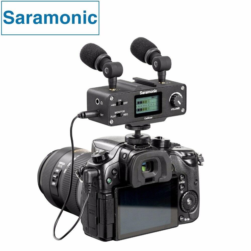 Saramonic camixer микрофон комплект с двумя стерео конденсаторные микрофоны, цифровой микшер и XLR/Mini-XLR Вход с + 48 В Phantom Мощность предварительно