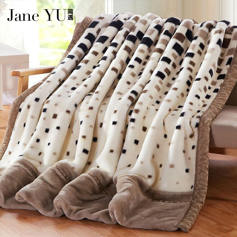 JaneYU Raschel Blanket Double Ply Raschel Blanket Long Hair Super Soft Adult Queen King Size Thicken Winter Warm