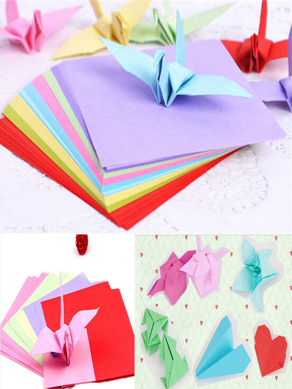 Double sided craft paper - Origami Square Paper Double Sided Coloured Sheets Folded Paper Multi Size Craft Diy 50pcs And 100pcs
