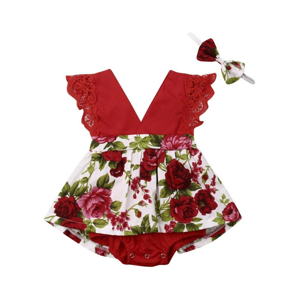 2pcs Cute Toddler Baby Girl Floral   Romper   Dress Sleeveless V Neck Ruffle Lace Jumpsuit Headband Outfits Infant Summer Clothes