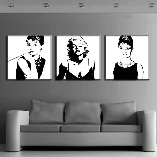 Lovely 3 Panel Audrey Hepburn Marilyn Monroe Wall Art Canvas Painting Wall  Pictures For Living Room Posters