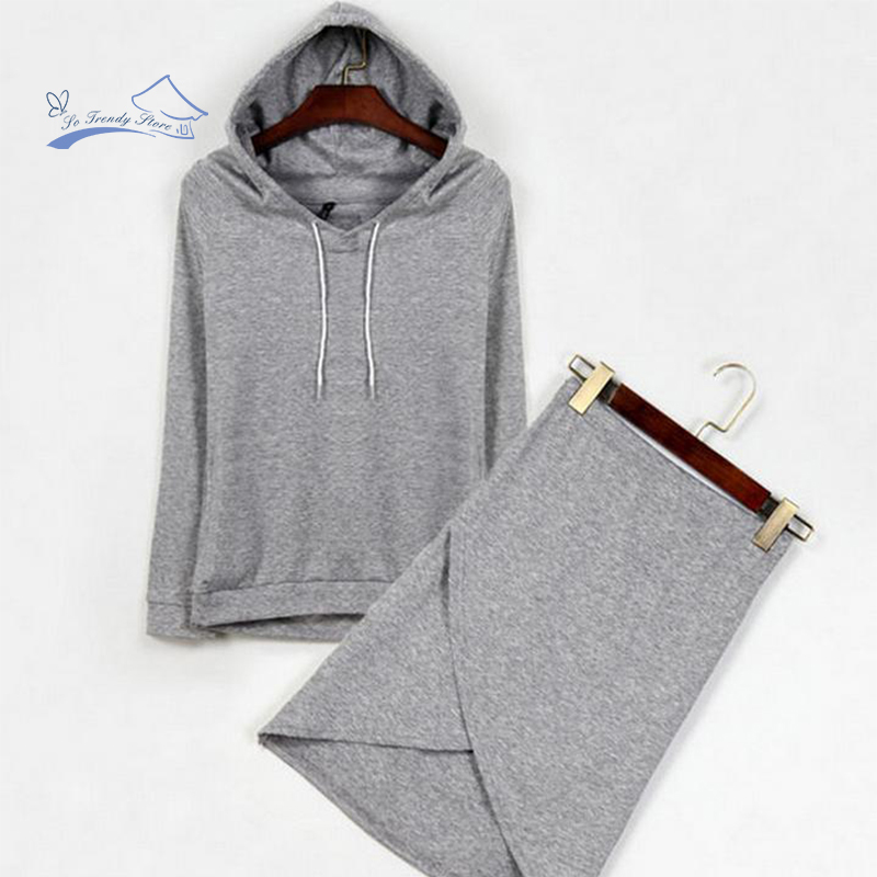 New Fashion Autumn Winter Warm The Cool Fleece Suit Women Hooded Cultivate Morality Hoodies Knee-Length jacket ladies Skirt