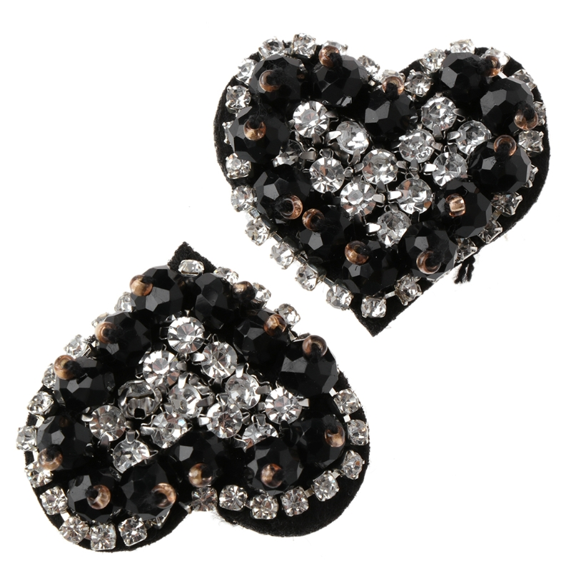 EYKOSI New 2pcs Shoe Decorations Clothes DIY Shiny Rhinestone Ornaments Charms Floral Black Shoe Decoration 3*2.5cm