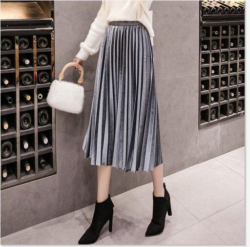 Autumn Winter Velvet Skirt High Waisted Skinny Large Swing Long Pleated Skirts Metallic 18 Colors Plus Size Saia #2