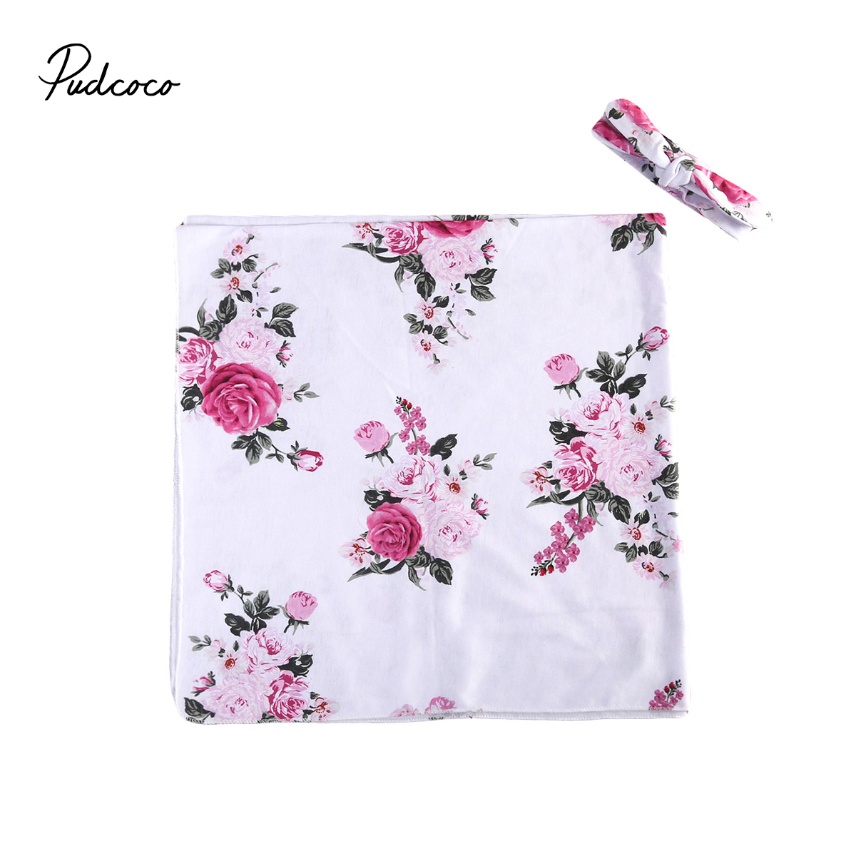 New Baby Boy Girl Receiving Blankets Soft Cotton Floral Newborn Baby Swaddle Blanket Bath Towel Baby Girls pink floral towels