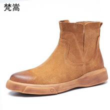 Desert Boots Mens Genuine Leather Chelsea Boots men cowhide Cowboy Boots man autumn winter British retro Riding boots male warm autumn and winter plus velvet martin boots male boots desert boots genuine leather flats men s shoes chelsea boots