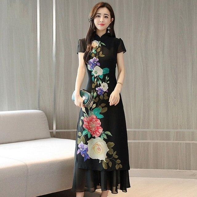 2018 winter classic style cheongsam dress short sleeve antique black cheongsam women flower printing vietnam long aodai dress