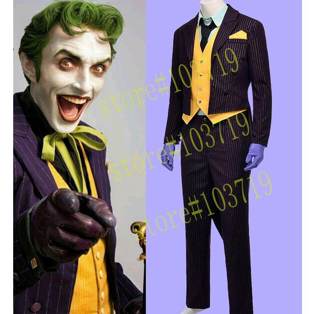 Héros attrape haute qualité Batman Arkham asile Joker smoking adulte hommes uniforme halloween film Cosplay Costume