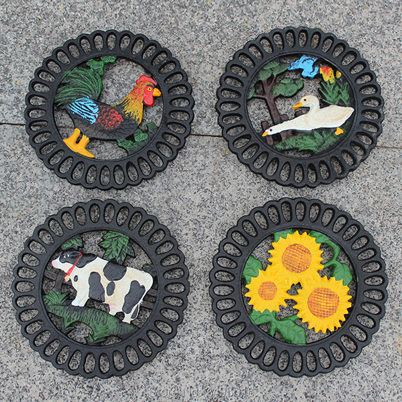 Cast Iron Decorative Trivet Mat Heavy Duty Hot Pot Holder Pads Non Slip Insulation Placemat With Vintage Floral Pattern In Mats Pads From Home