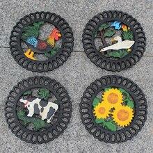 Cast Iron Decorative Trivet Mat-Heavy Duty Hot Pot Holder Pads-Non-slip Insulation Placemat with Vintage Floral Pattern