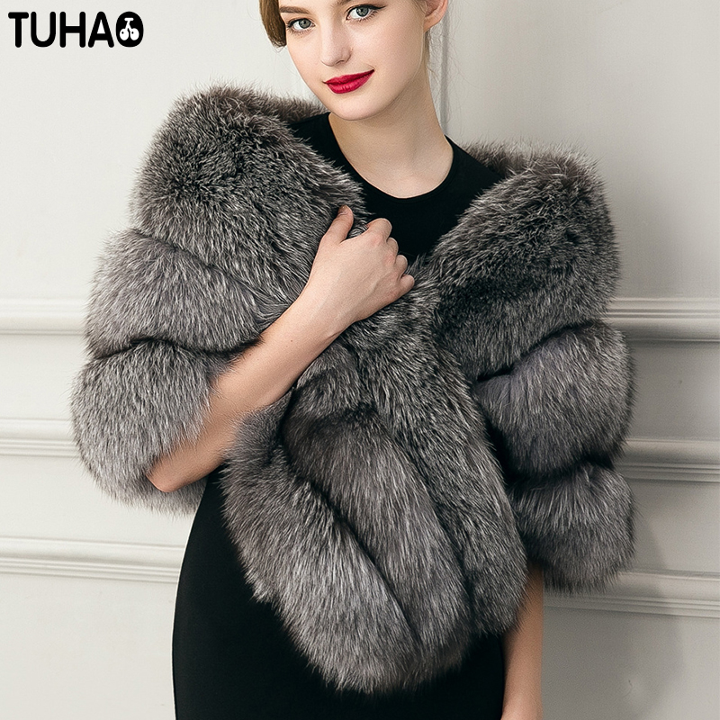 TUHAO 2018 winter vintage women Faux fur coat Women Warm Faux Fox Fur Coat Fur Jacket