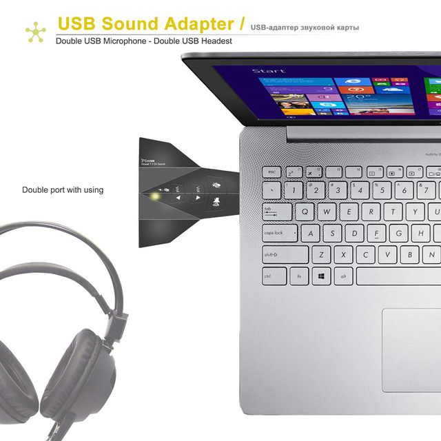 Ingelon USB Sound Adapter External Stereo Sound Adapter Virtual 7.1 Channel Double Microphone/Headset Port Plug and Play Gadgets 4