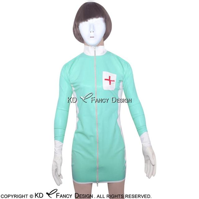 0127ed2e1d3 Jade Green With White Red Sexy Latex Nurse Uniform Sets With Gloves Rubber  Dress With Zipper At Front Latex Dress LYQ-0010