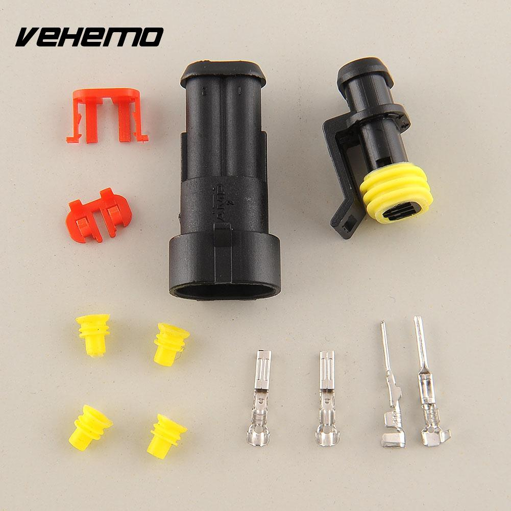 Vehemo 10 Kits 2 Pin Way Sealed Waterproof Electrical Wire Connector Plug Auto Set For Car motorcyle boats Black