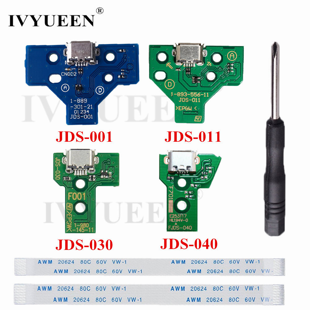IVYUEEN für <font><b>PlayStation</b></font> <font><b>4</b></font> PS4 Pro Slim-Controller JDS 055 030 040 011 Lade Port Circuit Board mit <font><b>12</b></font> 14 <font><b>pin</b></font> Band Kabel image