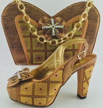 High Quality Italian Shoes And Matching Bag Set For Evening Party African Woman Shoes And Bag Set To Matching ME6601