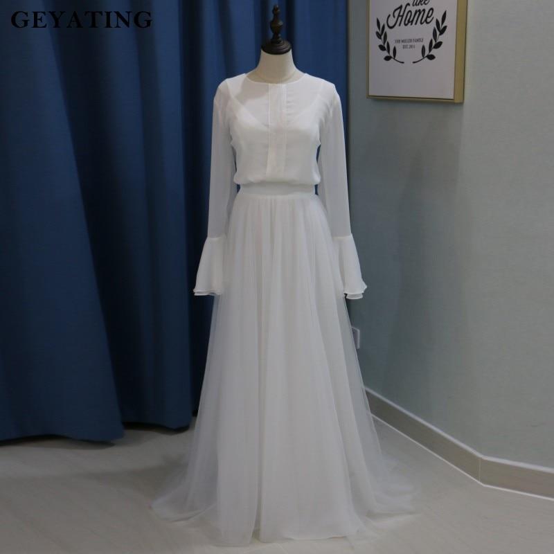 8e9f1e7c43 Vintage Summer Beach Bohemian Wedding Dress with Long Flare Sleeves Vestido  Boho Casamento 2018 New Real Photos Bridal Dresses