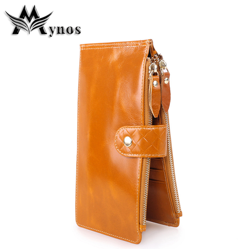 Mynos Genuine Leather Long Women Wallet Brand Design High Quality Cell Card Holder Zipper Ladies Wallet Purse Clutch Wrist Bag contact s new high quality red leather genuine wallet women purse card holder brand hasp