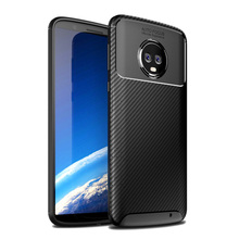 For Moto G6 Plus Case Carbon Fiber Silicon Phone Bag Motorola Full Protect Shockproof Soft Cover G7