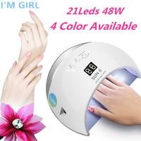 I'M GIRL SUN UV SUN6 48 Вт Сушилка для ногтей автоматический датчик переносной УФ-светильник для сушки низкого тепла модель двойной мощности Быстрый ...