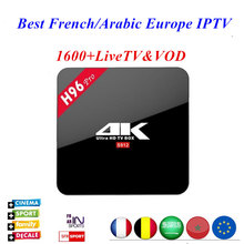 1 Year Arabic French UK portugal Italy europe iptv H96 Pro TV BOX S912 Octa core Android 6.0 HD Smart tv 1600+ Channels(China)
