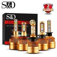 S & D H7 H4 LED far ampulü 9000LM 50W H1 H11 H8 H9 H27 880 881 H3 9005 9006 HB3 HB4 LED araba işık 12V 24V otomatik sis lambası 6000K