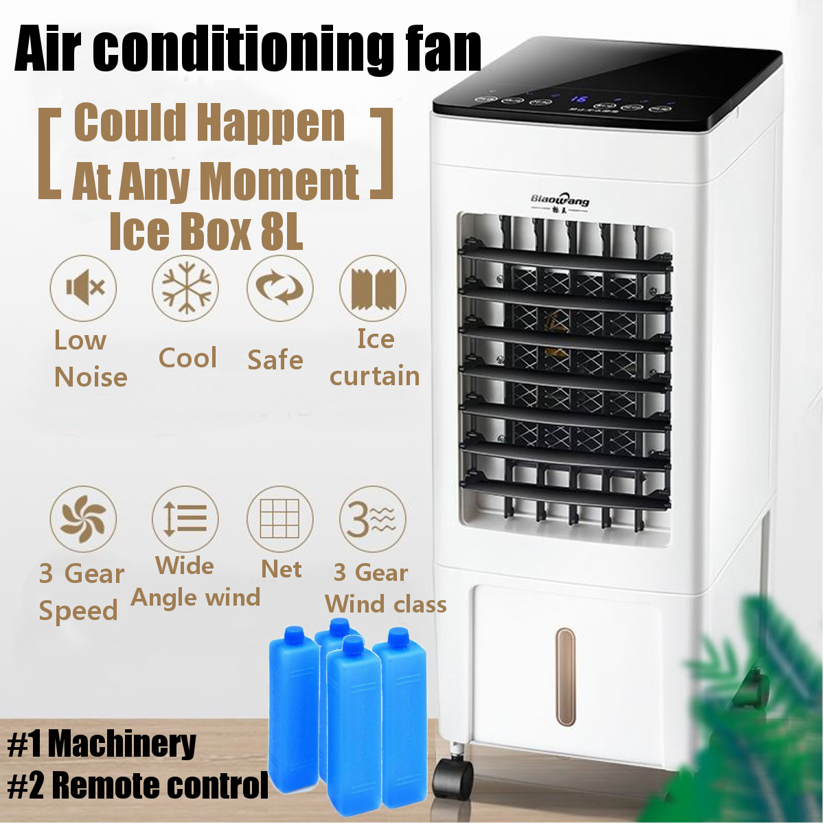 Free Shipping Portable Air Conditioner Conditioning Fan Humidifier Cooler System 220V Air Conditioner Cooling Fan+4 Ice Crystal