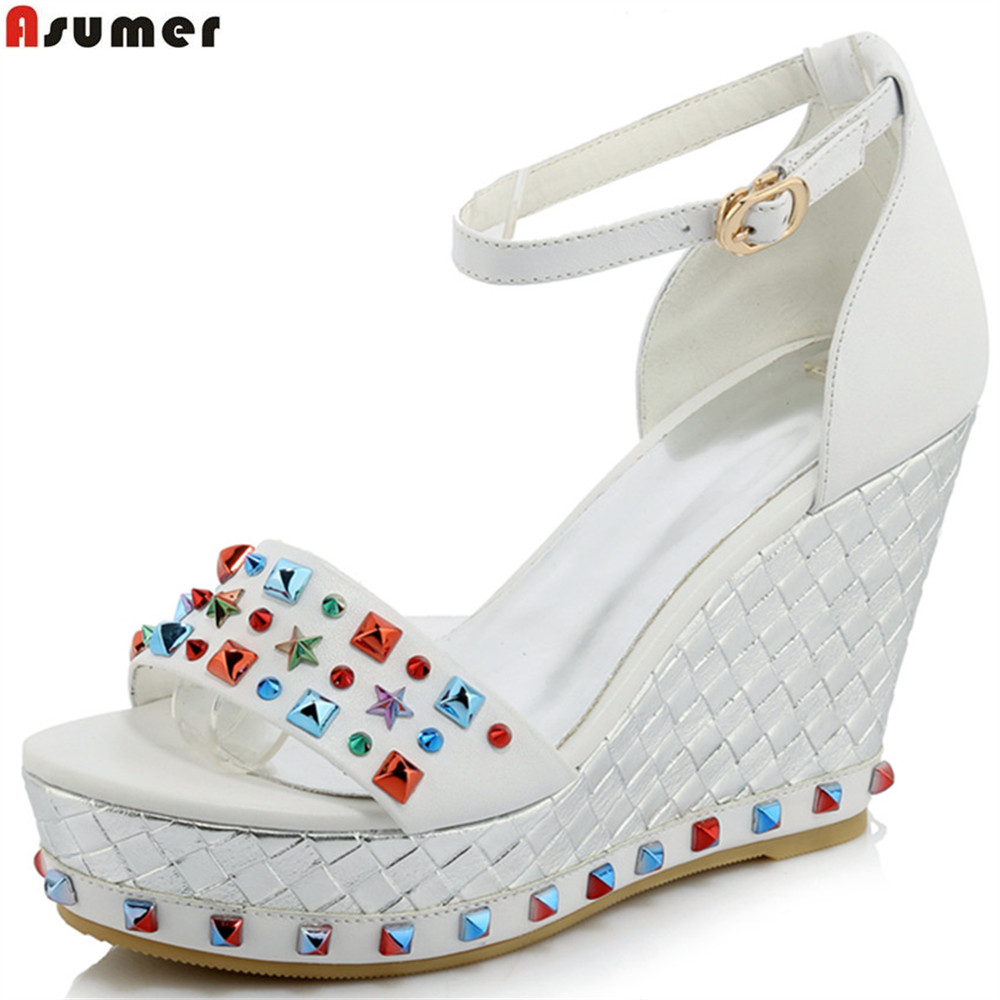 ASUMER 2018 fashion summer shoes buckle rivet casual wedges shoes genuine leather sandals buckle elegnat high heels shoes woman fashion high heels sandals women genuine leather buckle summer shoes brand new wedges casual platform sandal gold silver