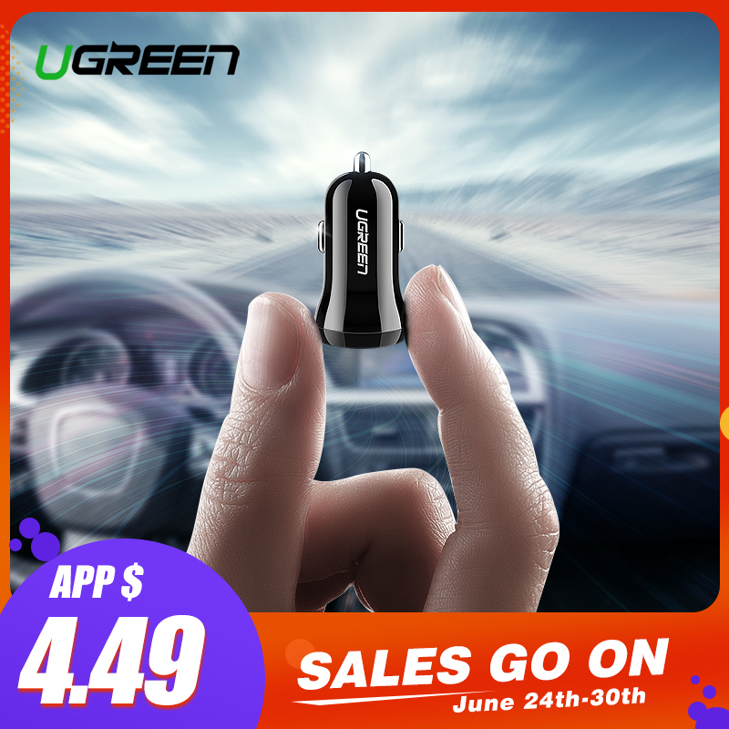 Ugreen Mini USB Auto Ladegerät Für Handy Tablet GPS 4.8A Schnelle Ladegerät Auto-Ladegerät Dual USB Auto Telefon ladegerät Adapter in Auto