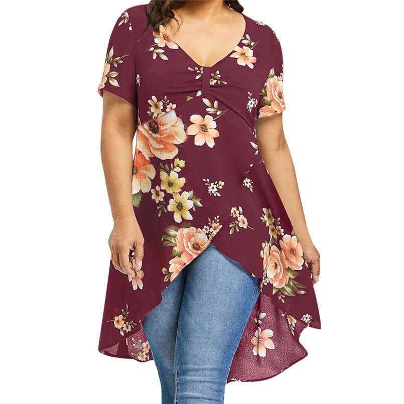 Moda New Style Uroczy Duży Rozmiar Kobiety Floral Drukarnie Długa Koszulka Z Krótkim Rękawem Topy Lato Plus Size Darmowa post #30
