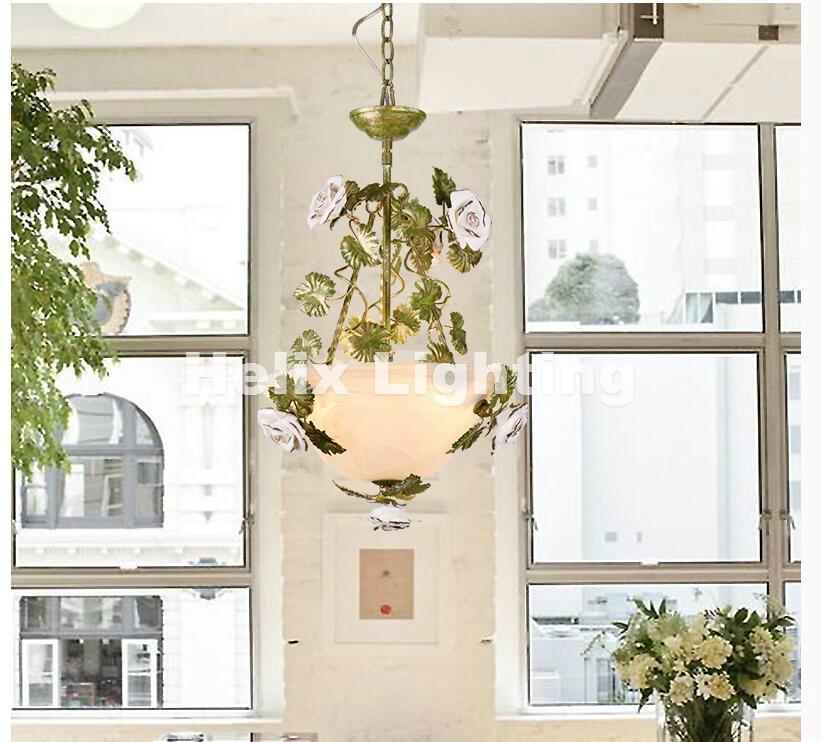 Free Shipping LED Floral Pedant Lights Rose Flowers Color Lampshade Chandeliers LED E14 Lustres De Cristal Pendant Lamp Bedroom 63 rose de mai