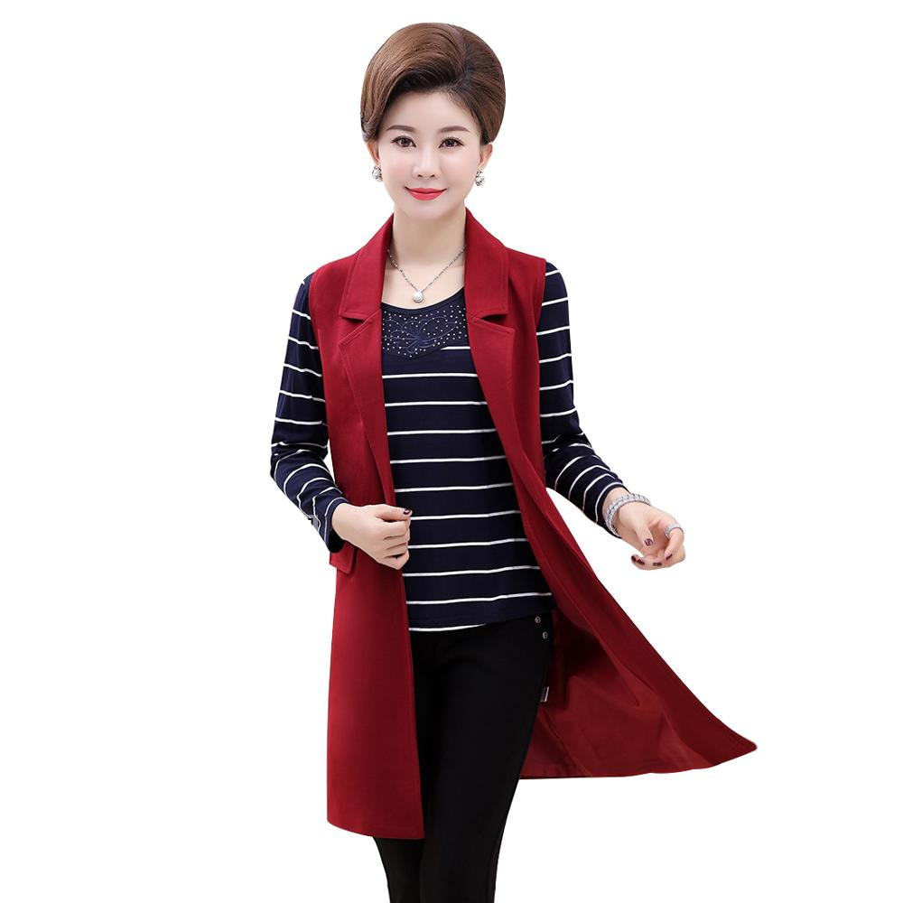 Plus Size 5XL Elegant Fashion Mom's Vest Long Red Women's Sleeveless Jacket Cotton Women's Vest Feminine Coat Long Waistcoat