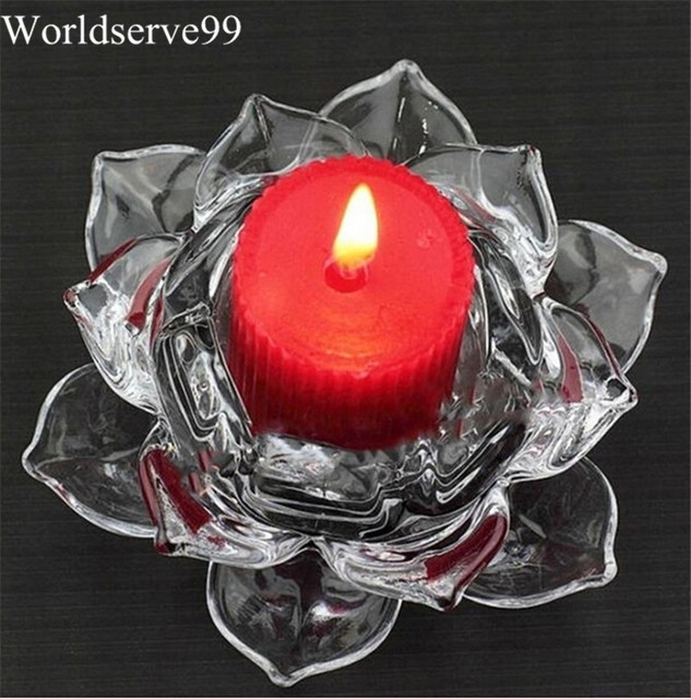 Clear Crystal Glass Lotus Candle Holder Tea Light Candlesticks Birthday Gift Wedding Party Home Table Decor