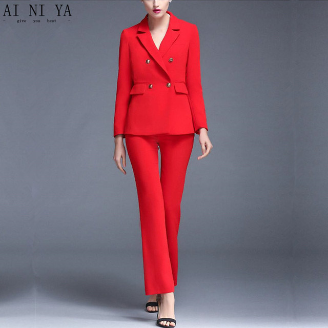 76bae36aff5 Jacket+Pants Red Women Business Suits Blazer Female Trouser Suit Double  Breasted 2 Piece Sets Ladies Winter Formal Suits Custom