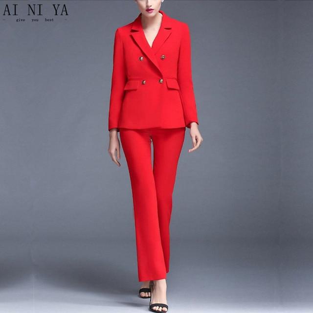 29af908d80e0 Jacket+Pants Red Women Business Suits Blazer Female Trouser Suit Double  Breasted 2 Piece Sets Ladies Winter Formal Suits Custom