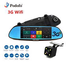 Podofo 3G Car DVR 7 Android 5 0 GPS Registrar Navigation Video Recorder Bluetooth WIFI Dual