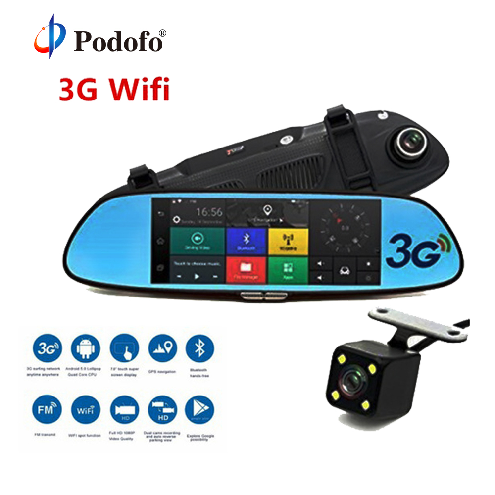 Podofo 3G Carro DVR 7 Android 5.0 de Navegação GPS Registrador Gravador De Vídeo Bluetooth WI-FI Câmera de Lente Dupla Espelho Retrovisor Dashcam