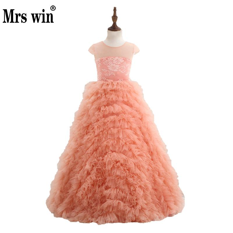Vestido Daminha 2018 New Flower Girl Dresses Elegant Orange Wave Type Floor-length Ball Gown For Girls Robe De Bal Enfant X