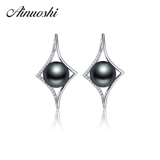 AINUOSHI Women 9mm Round Pearl Earring Natural Clutured Black Pearl High Quality Pearl Engagement Wedding Women Drop Earring