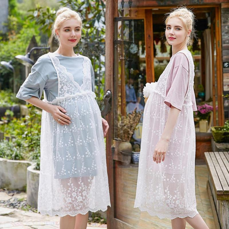 New Maternity Dresses Lace Hollow High Waist Two Sets Clothes For Pregnant Women Of Casual Lace Long Style Pregnancy Dress XV3 ...