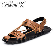 CcharmiX Men Sandals 2019 High Quality Genuine Leather Fisherman Shoes  Summer Casual Outdoor Sandals Fashion Male Leather Sandal cd358aa4f1d5