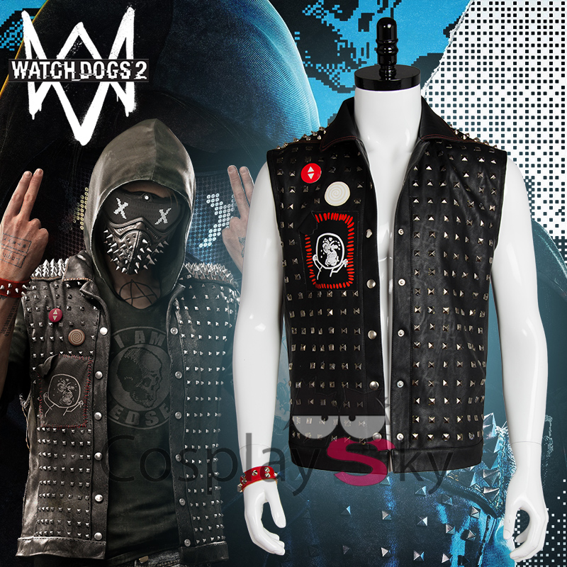 Watch_Dogs 2 Marcus Holloway Cosplay Vest Leather Jacket Vest for Men Free Shipping +Wristband 5cmx5m gray tc material reflecterende stof for jacket and vest free shipping