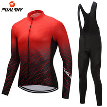 цена на Breathable Thermal Fleece Cycling Clothing Men Women Long Sleeve Cycling Jersey Set Cycling Bike Bicycle MTB Jersey Bib Pants