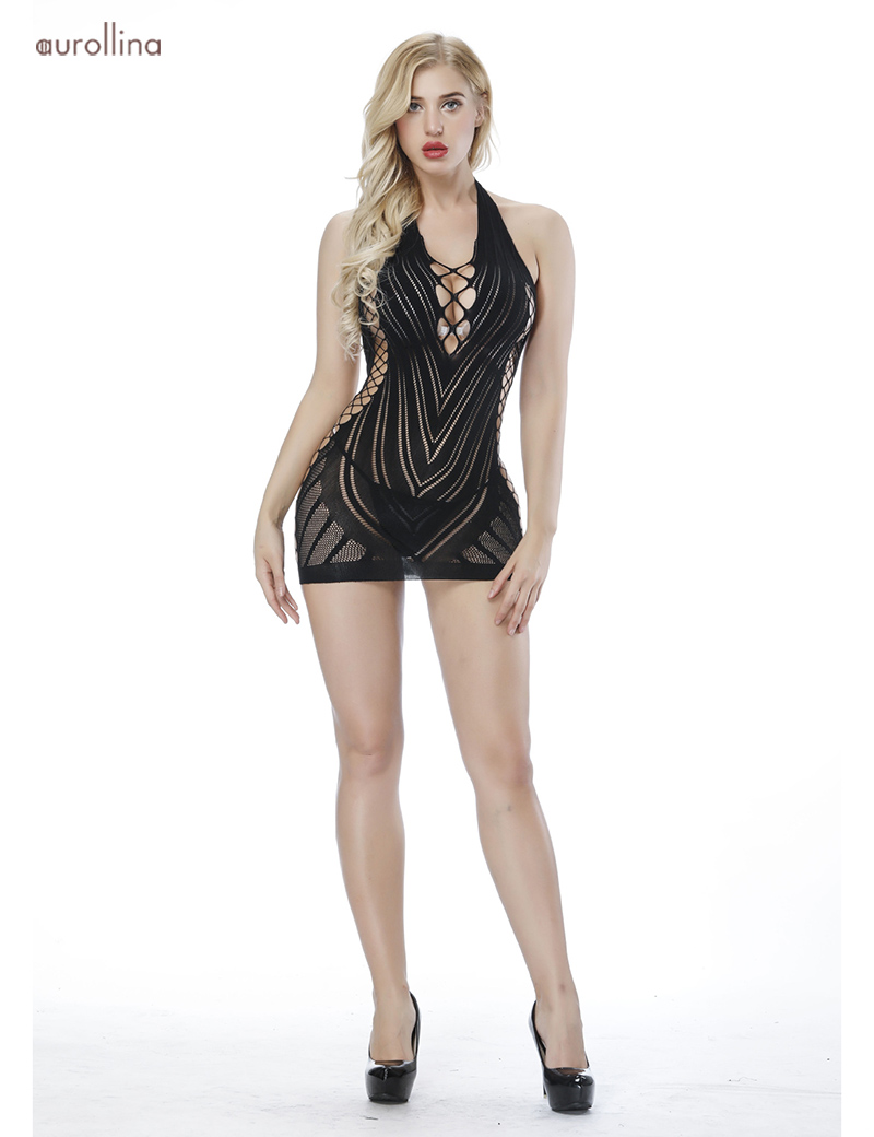Nylon Lace Bodystocking  Lingerie Deep Sexy Dress Uniform (6)