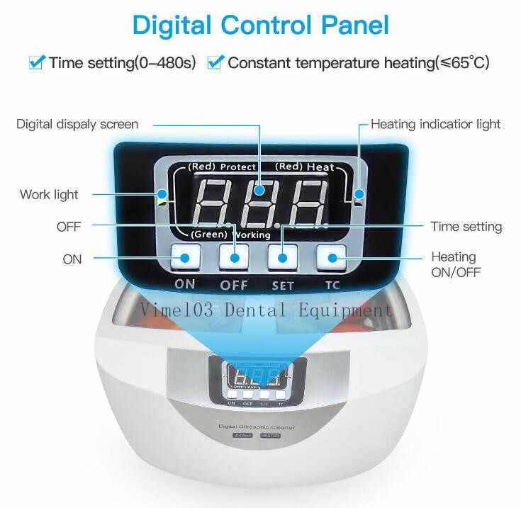 Dental 2.5L Ultrasonic Cleaner Stainless Tank Timer Heater Digital Watch Jewelry Sterilizer Cleaning Machine