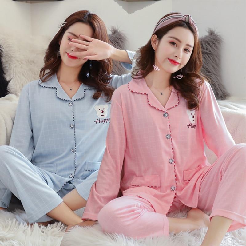 Plus Size Casual Plaid 100% Cotton   Pajamas     Sets   for Women Long Sleeve Sleepwear Pyjama Loungewear Homewear Pijama Mujer Clothes